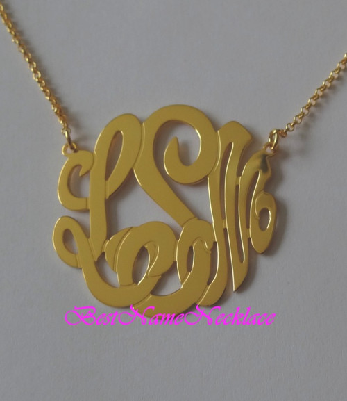 "Interlocking Monogram Necklace 1.50"" tall"