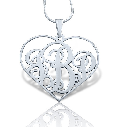 Heart Shaped Monogram Necklace Script Style