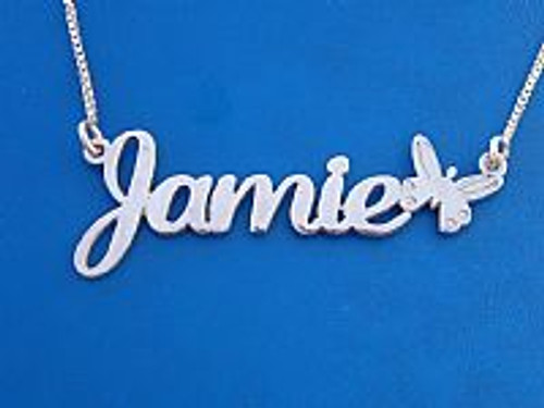 Jamie with Butterfly Silver Name Necklace