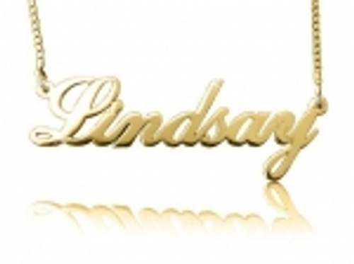 Lindsay Cursive Dainty Gold Plated Name Necklace