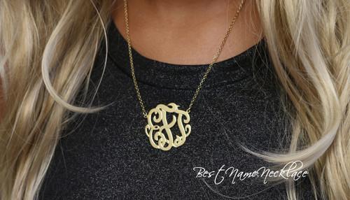 Interlocking Monogram Necklace Gold