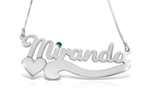 Nicole Style Silver Name Necklace with Heart and Crystal
