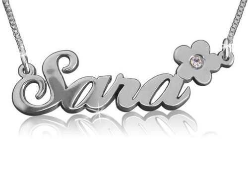 Sara with Flower Name Necklace With Swarovski Birthstone