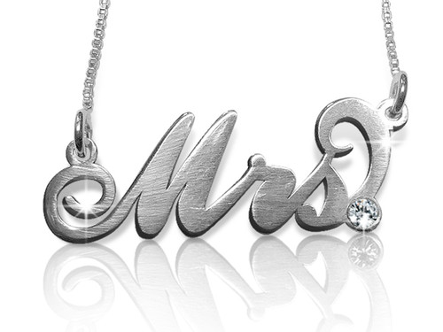 Mrs. Carrie Name Necklace Silver