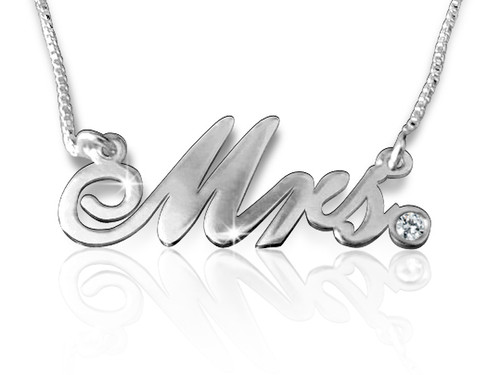 Mrs Cursive Name Necklace Silver