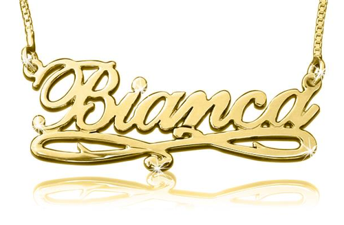 Bianca Name Necklace Gold