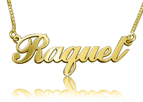 Raquel Style Name Necklace Gold