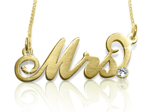 Mrs. Carrie Name Necklace with Swarovski Crystal