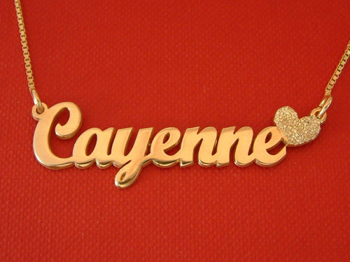 Cayenne Sparkling Heart Name Necklace Gold