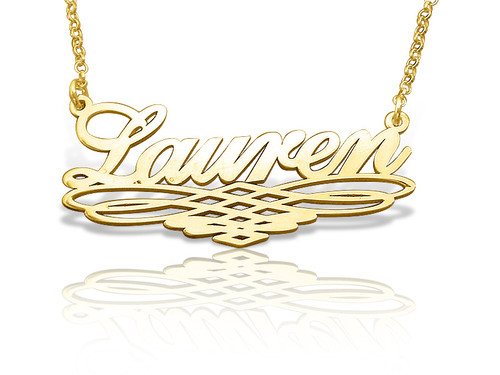 Geometric Gold Plated Name Necklace
