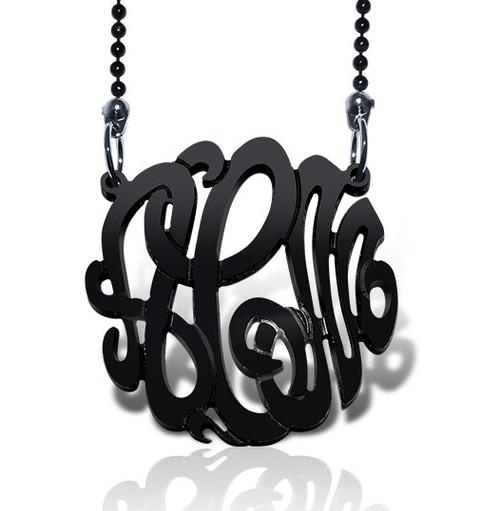 Interlocking Acrylic Monogram Pendant Necklace