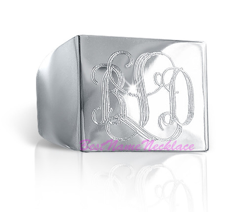 Square Monogram Ring Engraved