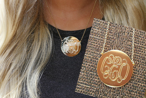 Heather monogrammed disc necklace