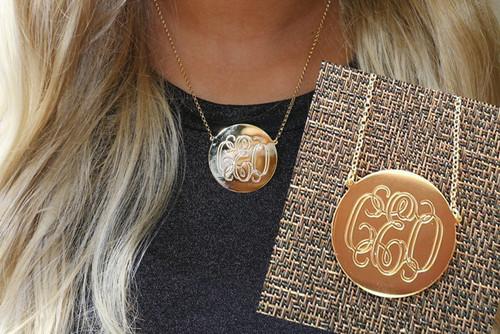 Heather monogrammed disc necklace
