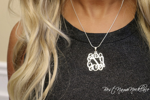 Vine monogram necklace, classic monogram necklace