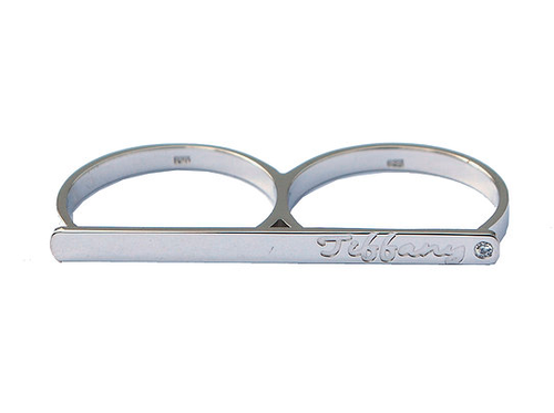 Two finger Engraved Bar Ring