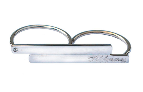 Double Engraved Bar Ring Script Style