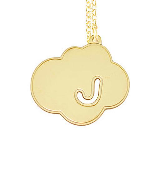 Cloud Initial Pendant Necklace