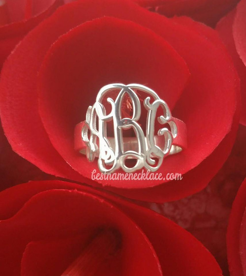 Initials Monogram Ring Vine Interlocking Style