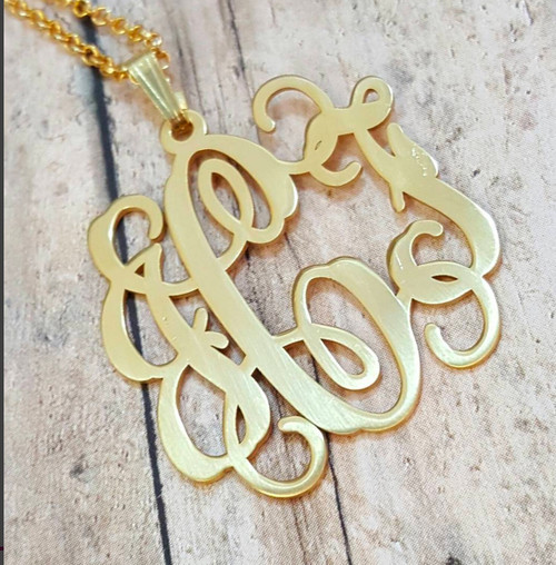Monogram Necklace Vine Style