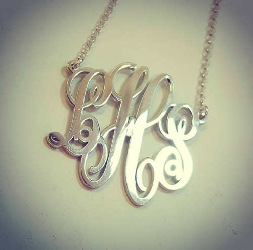 Monogram Necklace Script Split Chain Style