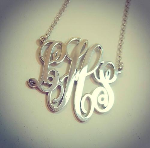 Monogram Necklace Script Split Chain Style
