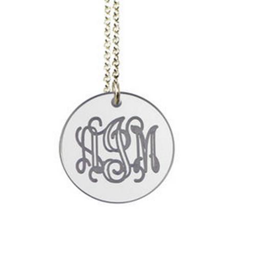 Black Ink Monogram Engraved Necklace