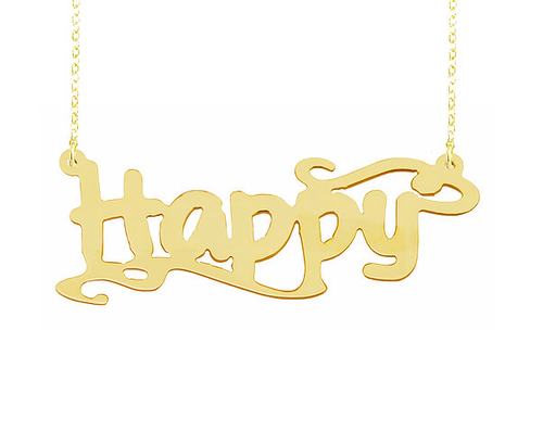 Personalized Name Necklace Happy  Style