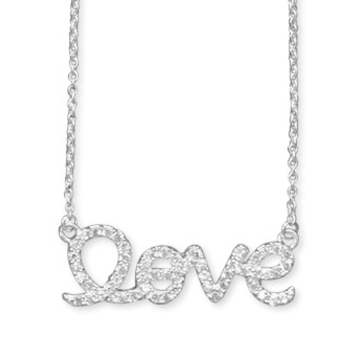 Love Necklace Covered in CZ Crystals
