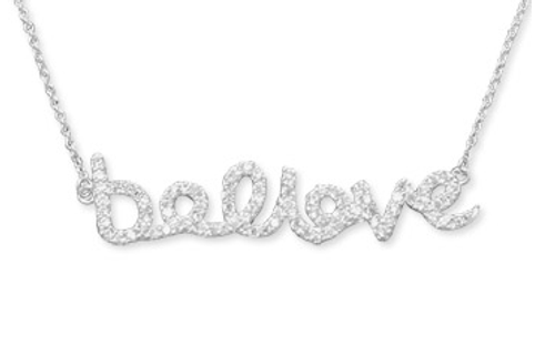 """16"""" sterling silver """"believe"""" necklace with CZs. The word """"believe"""" is approximately 7mm x 36mm. The necklace has a lobster clasp closure. .925 Sterling Silver"""