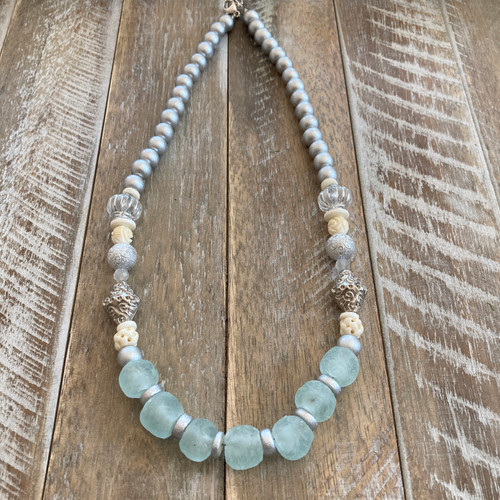 Aqua Recycled Glass Silver Boho