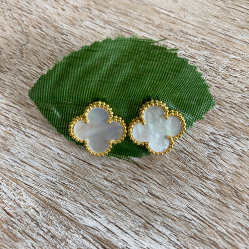 White Mother of Pearl Goldtone Studs