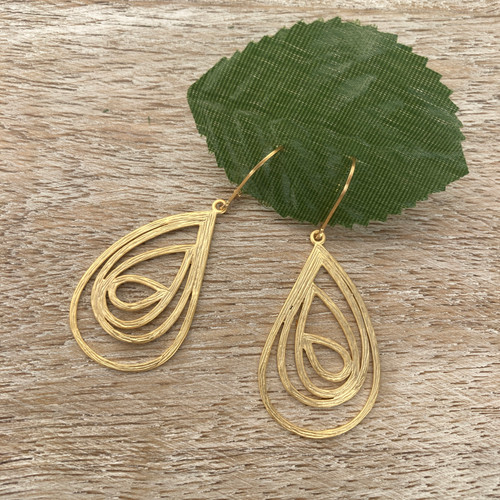 Swirls Teardrop - Gold
