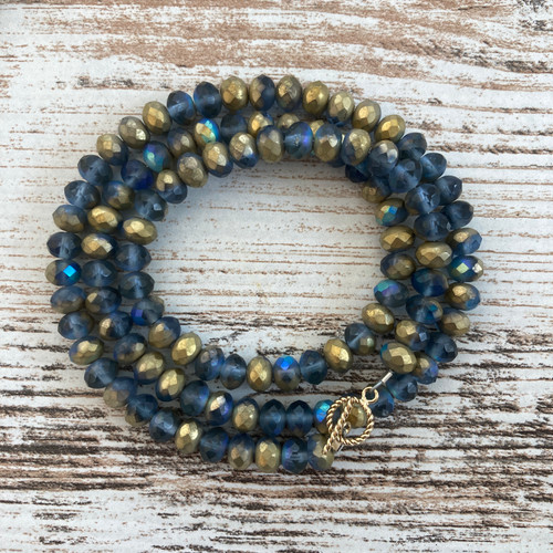 Czech Cadet Blue and Gold Glass Wrap