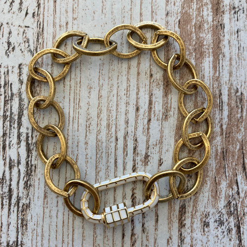 Chain with White Enamel Carabiner Lock Clasp