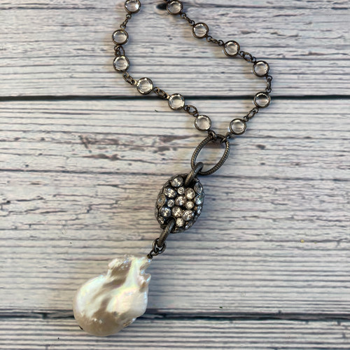 White Topaz and Baroque Pearl