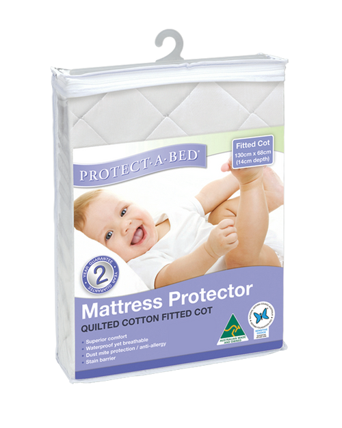Pab Terry Cotton White Fitted Cot Protector
