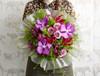 Gloriosa, Hot Magenta Vanda Orchid, Royal Velvet Bouvardia, Deep Purple Roses, Green Bell & Asparagus Ming Fern