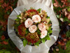 Kahala Roses, Charlie Brown Orchids, Fuego Chrysanthemums, Oak and Salal leaves
