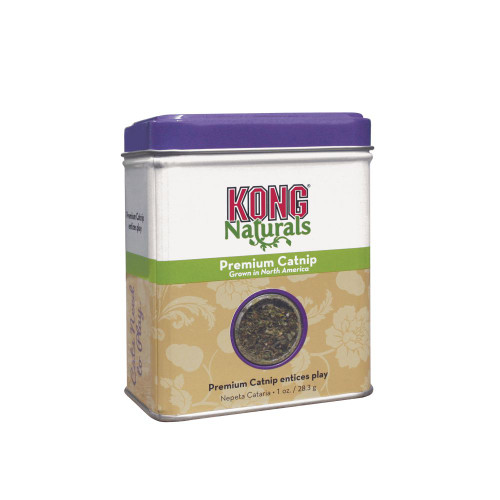 Irresistible, highly potent KONG Premium North American Catnip available in a convenient reseable tin for lasting freshness Real catnip flakes add fresh fun to cat toys while encouraging appropriate scratching behaviour KONG Premium catnip KONG Premium North American Naturals Catnip is harvested and field-dried captruing the peak of flavor Use to soothe trips to vet and for comforting Resealable catnip tin for easy use