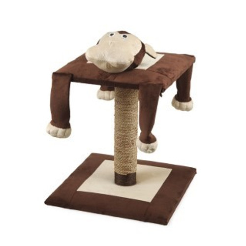 The Lazy Monkey Cat Scratching Post Features Some of the many features of this cat activity centre are the hilariously funny dangly arms and legs which will encourage interactive play, the quality catnip that will attract your cat away from the furniture and onto the scratch post. Also, the beautifully soft, plush material and large platform will provide a comfy sleeping area for your cat.  Lazy Monkey Cat Post Dimensions The base is 40cm wide, 56cm high with a platform 35cm wide.
