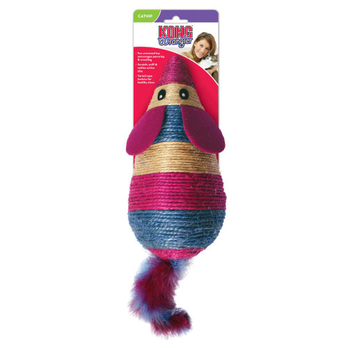 Fun oversized toy encourages pouncing & wrestling Scratch, sniff & rattles entice play Varied rope texture for healthy claws
