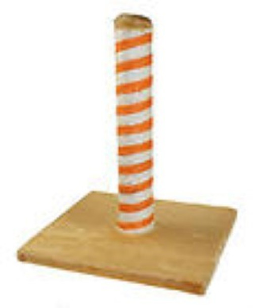 A super value basic kitten scratch post.  Plush base and orange striped sisal post. Ideal first scracth post for the new cat in your home.