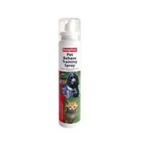 Helps train your pet indoors. The spray contains a harmless substance that cats and dogs find unpleasant, and your pets are thus discouraged from scratching or chewing anything that is sprayed with Pet Behave. Popular with home-owners for use on household furnishings, woodwork, doors, curtains, baskets, carpets, rugs, slippers, etc.