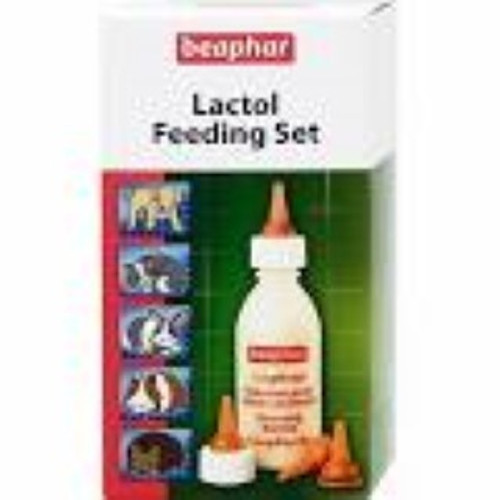 The Beaphar Lactol Feeding Set contains a feeding bottle, four teats and a cleaning brush.  This bottle is designed for feeding newborn and growing animals (puppies, kittens, guinea pigs, rabbits, hedgehogs etc.)  Each Lactol Milk Feeding Set comes complete with:  Feeding bottle; 4 x Mixed size teats; Cleaning brush.  Thanks for the Lactol Milk Feeding Set you will eliminate mess, reduce wastage through spillages and provide be able to provide a nutritious supplement to your kitten or puppy.