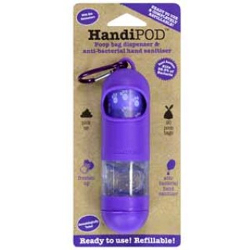 "Handipod is a neat, compact item that houses a roll of dog poop bags and a clever hand sanitiser dispenser. Handipod is made from high quality material and can be attached to your clothing or to your dog lead with the included caribiner. Handipod is refillable, simply ""pop off"" the pod that contains the gel and replace with a new pod. The same process for the bags, pop off the gel pod and replace the roll. This product contains the lemon scented gel and 1 roll of 20 bags"