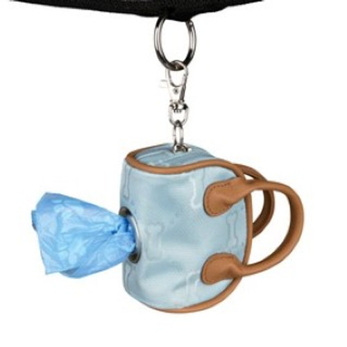 synthetic fibre/imitation leather  beige colour with zip lateral opening permits pulling out the dog dirt bag easily with karabiner to attach to e.g. the lead complete with roll of 20 bags  Collect your dog waste in style and with discretion with this great product.