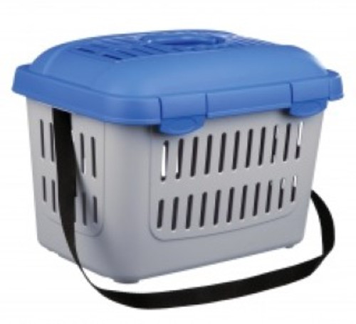 plastic open top carrier with handle and shoulder strap ventilation slits for optimal air circulation suitable for cats and small dogs up to 5kg   Size  44 × 33 × 32 cm