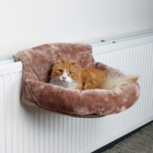 Short-haired plush cover; With bolster; Stable metal frame; With adjustable holding device (9–12 cm); For all conventional radiators; Measurements: 46 × 11 × 33 cm; Colour: brown.