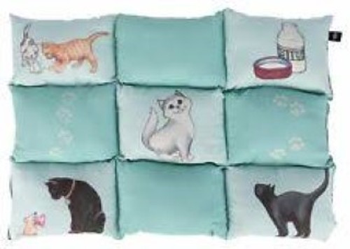 Trixie Cat Patchwork Blanket is both eye-catching and comfortable. The mint-coloured patchwork blanket with cute cat motifs is suitable for any home. The blanket even has a little secret your cat will adore – a hidden, sewn-in pocket with a zipper which can be filled with catnip or catmint! This makes the blanket stimulating and even more attractive to your cat! Thanks to the thick filling, the quilted blanket is a comfortable and warm spot for your cat. The black base is non-slip, so the blanket stays in place even if your cat moves about. And if the blanket is dirty it can easily be hand washed